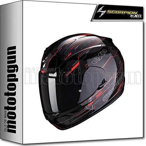 SCORPION INTEGRALHELM MOTORRAD EXO-390 BEAT SCHWARZ-NEON ROT SZ. L