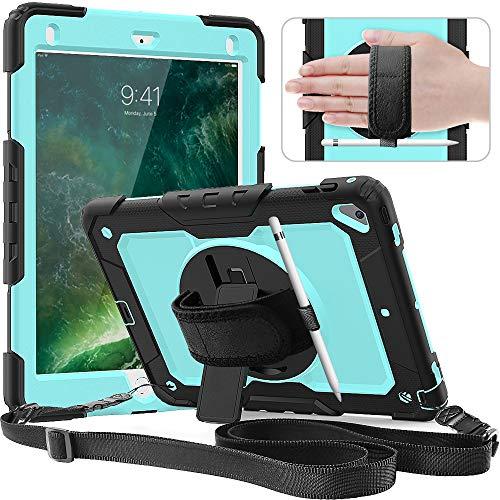 Timecity Hülle für iPad (9,7 Zoll, Modell 2018/2017, 6. / 5. Generation). Anti-Fall Hülle mit Displayschutz, Handschlaufe & Schulterriemen, Drehbarer Ständer, Bleistifthalter - Hellblau