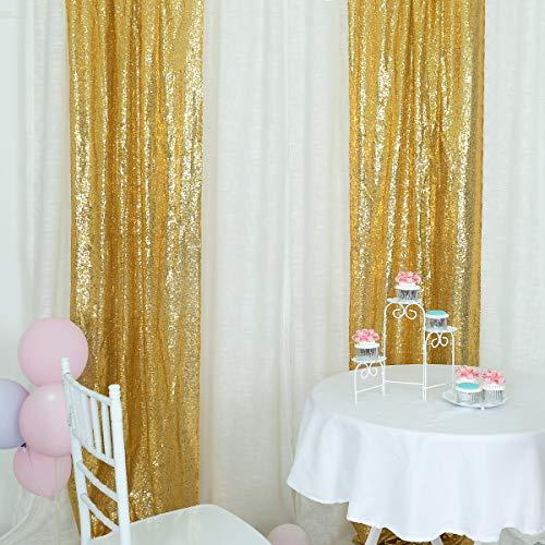 HELAKU Sequin Backdrop Gold Sequin Backdrop Gold Sequin Backdrop Curtain 2 Sequin Backdrop , 2Pcs 2.5x8FT