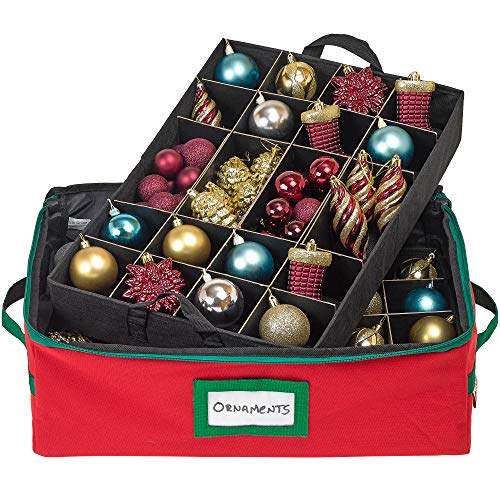 Premium Christmas Ornament Storage Container - Holds up to 48-3' Ornaments - Heavy-Duty 600D Durable Storage Box with Two Removable Divider Trays to Protect and Secure Your Favorite Seasonal Décor