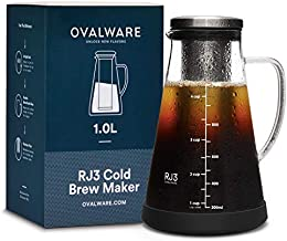 Airtight Cold Brew Iced Coffee Maker and Tea Infuser with Spout - 1.0L / 34oz Ovalware RJ3 Brewing Glass Carafe with Removable Stainless Steel Filter