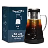 Airtight Cold Brew Iced Coffee Maker and Tea Infuser with Spout - 1.0L \/ 34oz Ovalware RJ3 Brewing Glass Carafe with Removable Stainless Steel Filter
