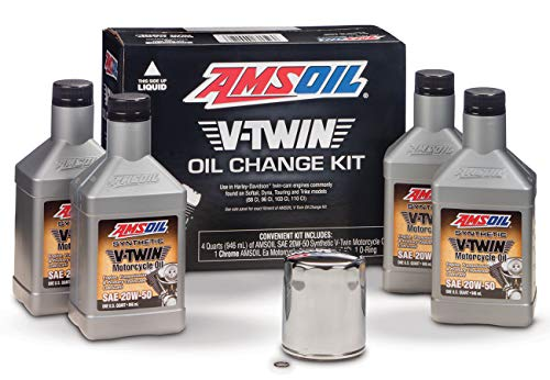 AMSOIL VTWIN Oil Change KIT 20W50 Full Synthetic Motorcycle Oil 4QTS + Filter