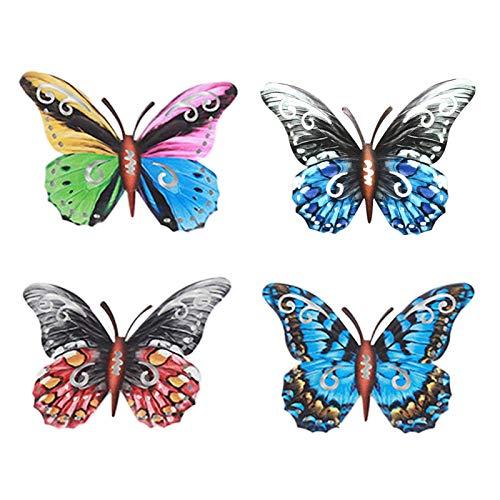 Juego de 4 piezas de escultura de mariposa, mariposa de metal, decoración de pared, hierro forjado, color metal, mariposa, para jardín, patio, valla, dormitorio, exterior e interior