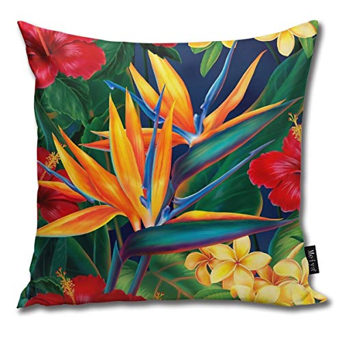 BlueBling Fashion Funny Throw Pillow Covers Tropical Paradise Hawaiian Birds of Paradise Illustration Printed 18 x 18 Inches Cases Cushion Cover Pillowcases for Home,Indoor,Bed,Gard