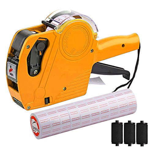 MX-5500 8 Digits Price tag Gun with 5000 Sticker Labels and 3 Ink Refill, Label Maker Pricing Gun Kit Numerical Tag Gun for Office, Retail Shop, Grocery Store, Organization Marking (Yellow)