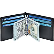 RFID Money Clip Leather wallet- Genuine Leather Bifold with 6 Credit card Strong Money Clip Slim wallet