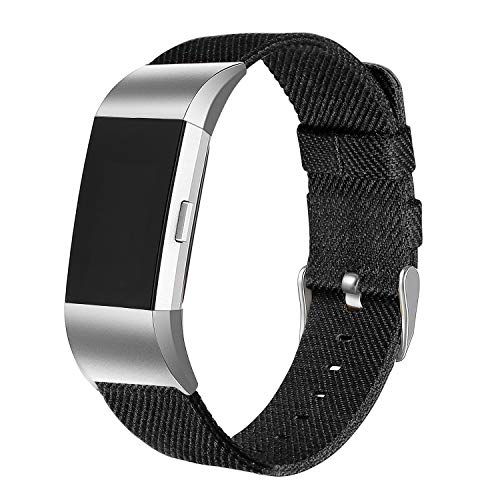 bayite Canvas Bands Compatible with Fitbit Charge 2, Soft Classic Replacement Wristband Straps Women Men, Black Small (5.5-6.7 Inch)