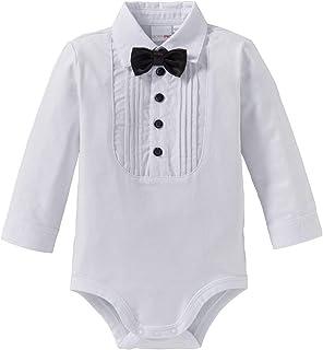 Bornino Bornino Baby Body langarm Hemd mit abnehmbarer Fliege/Langarmbody Junge/Jersey-Qualität/weiß