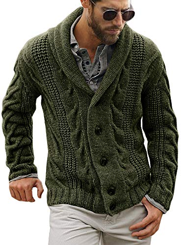 Mens Cable Knit Cardigan Sweater Shawl Collar Loose Fit Long Sleeve Casual Cardigans Army Green