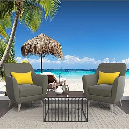 Mural De Paisaje Marino De Árbol De Coco De Playa De Isla Moderna Papel Tapiz 3D Sala De Estar Dormitorio TV Fondo Decoración De Pared Pegatina De Pared 3D