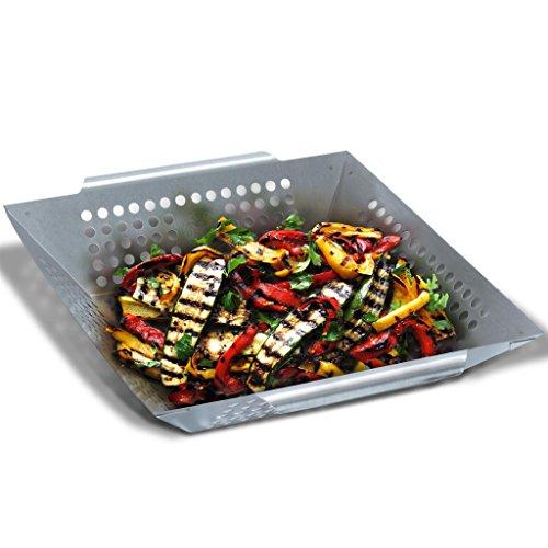 Grill Republic Premium Gemüse-Grillkorb Große BBQ-Grillschale aus Edelstahl | Zubehör für Holzkohle-, Elektro- und Gas-Grill sowie Backofen | Spülmaschinenfest | Maße: 30 x 34 x 6 cm