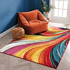 Aurora Multi Red Yellow Orange Swirl Lines Modern Geometric Abstract Brush Stroke Area Rug 5 x 7 ( 5'3″ x 7'3″ ) Easy Clean Stain Resistant Shed Free Contemporary Painting Art Stripe Thick Soft Plush