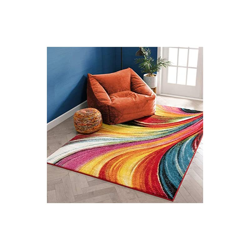 """silk flower arrangements aurora multi red yellow orange swirl lines modern geometric abstract brush stroke area rug 5 x 7 ( 5'3"""" x 7'3"""" ) easy clean stain resistant shed free contemporary painting art stripe thick soft plush"""