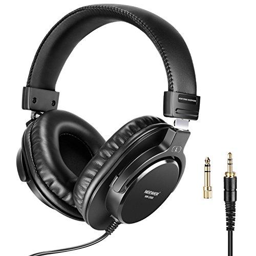 Neewer Studio Monitor Kopfhörer - Dynamische Drehbare Kopfhörersets mit 40mm Loudhailer-Treiber, 3 Meter Kabel, 6,35mm Stecker Adapter für PC, Handy und TV (NW-2000)