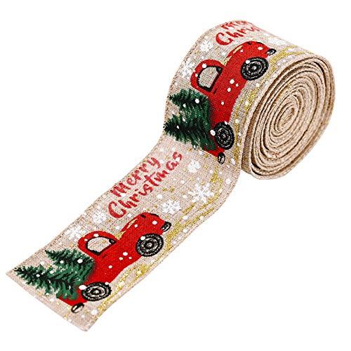 HooAMI クリスマス飾り リボン 幅5cm 長さ5m DIY用 プレゼント包装 手作り ラップリボン ハンドメイド アクセサリー 蝶結び ギフトラッピング お洒落 お誕生日 新年 祝日など 手作り素材 ケーキラッピング サテンリボン (ベージュ)