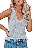 Erneut Camiseta de tirantes para mujer, sexy, sin mangas, para verano, con espalda cruzada, cuello en V, ligera, transpirable, parte superior gris XL