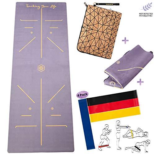 GOLDEN® Esterilla de yoga de viaje 1,5 mm/4 mm, lavable en casa, toalla plegable 2 en 1, antideslizante de caucho natural (alineación de 1,5 mm (con bolsa de corcho y bandas de fitness)