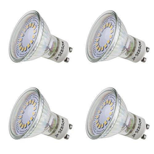 SEBSON LED Lampe GU10 warmweiß 3,5W, ersetzt 30W Halogen, 300 Lumen, GU10 LED Strahler 230V, LED Leuchtmittel 110°, 4er Pack