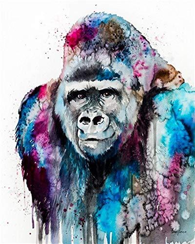 YEESAM ART Malen nach Zahlen für Erwachsene und Kinder, farbenfroher Gorilla-Affe, 40,6 x 50,8 cm, Leinen-Leinwand, Acryl, DIY-Zahlen-Gemälde, Wandkunst, Dekoration, Geschenke (gerahmt)