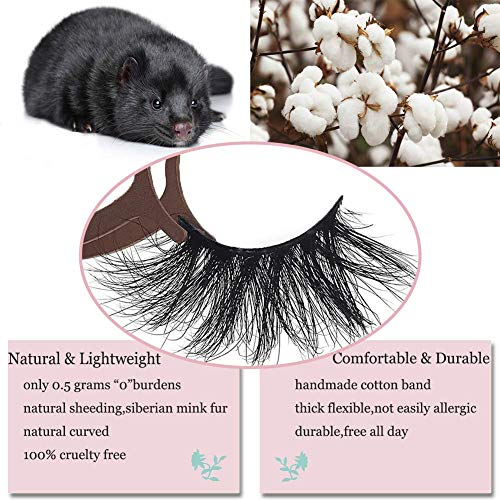 Vivien 5Pairs 5D Mink Lashes, Natural Look Wispy Eyelashes Very Soft and Comfortable, Professional Fake Eyelashes Pack, Handmade Thick Natural Cross Lashes 1