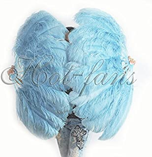 Hot-Fans A pair of sky blue Single Layer Ostrich Feather Fan 24