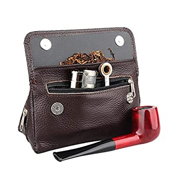 Health Secure Soft Genuine Leather Preserve Freshness Pipe Tobacco Pouch case with 2 Pipe Holder Pocket  Brown