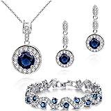 Ensemble collier boucles d'oreille et bracelet 18 carats plaqué or blanc avec cristaux autrichiens bleu imitation saphir en...
