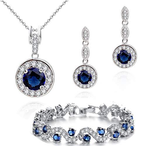 Parure di zaffiri blu sintetici rotondi e cristalli di zirconia austriaci, composta da collana con pendente lunga 45,7 cm, orecchini e bracciale, placcata oro 18ct