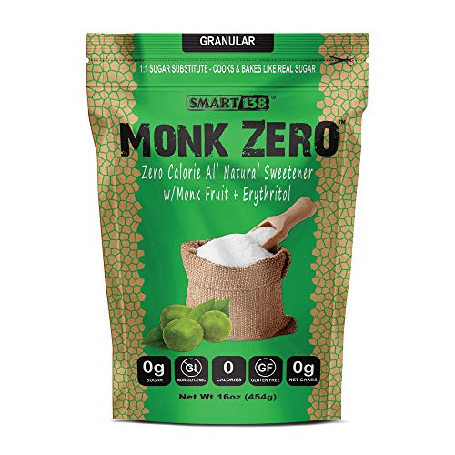 Monk Zero - Monk Fruit Sweetener, Non-Glycemic, Keto Approved, Zero Calories, 1:1 Sugar Substitute (Granular, 16oz)