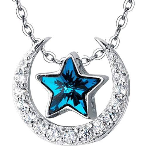 WOZUIMEI S925 Collar de Plata Estilo de Arte Coreano Femenino Diamante Azul Estrella de Cinco Puntas Dulce Luna Temperamento Cadena de Clavículahembracollar