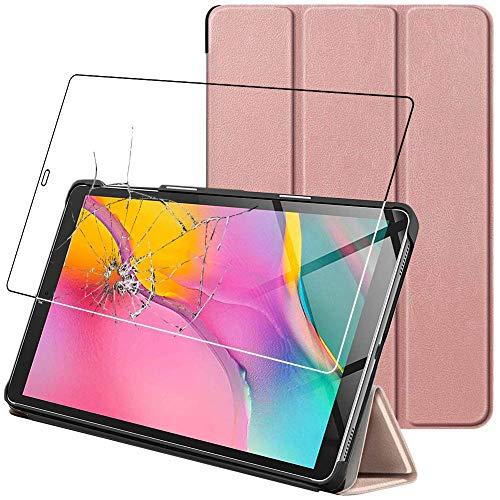 ebestStar - kompatibel mit Samsung Galaxy Tab A 10.1 Hülle 2019 T515 Smart Cover [Ultra Dünn] Schutzhülle Etui Ständer Hülle, Pink Gold + Panzerglas Schutzfolie [Tab: 245 x 149 x 7.5mm 10.1