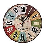 LOHAS Home 30 cm Reloj de Pared de Cuarzo Estilo Toscano Vintage Francesa Paris Reloj de Madera (Pueblo Viejo)