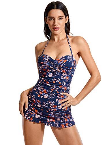 DOBREVA Women's Bandeau Halter Tummy Control One Piece Skirted Swimsuit Swimdress Bathing Suit Multicoloured #7 8-10