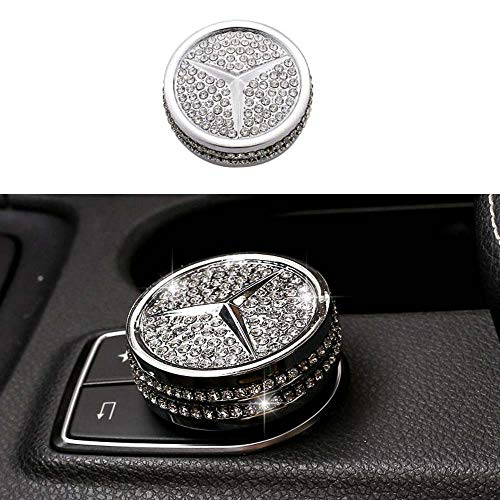 Center Control Multimedia Button Bling Crystal Emblem for Mercedes-Benz, Shiny Accessories Parts Logo Sticker Badge Decals Covers Interior Decorations (Silver)