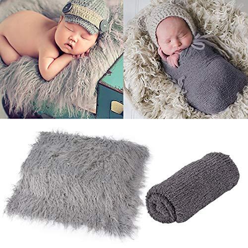 ZOYLINK 2PCS Baby Photo Prop Wrap Nouveau Né Couverture Coton Photographie élastique Prop