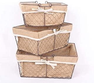 Kaite Set of 3 Chicken Wire Basket with Burlap Liner