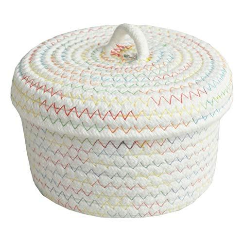 Inwagui Baby Aufbewahrungskorb Baumwollseil Weben Aufbewahrungsbox mit Deckel Kleine Deko Korb Organizer für Kinderzimmer, Wohnzimmer, Kosmetik - Weiß