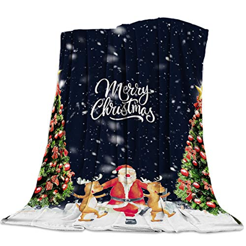 Flannel Throw Blanket 49 x 59 Inche, Ultra Soft Fuzzy Microfiber Blanket Lightweight Cozy Blanket for Couch Bed Sofa- Merry Christmas Santa Claus Dancing with Reindeer