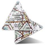 2 pegatinas triangulares de 7,5 cm – Frankfurt Alemania mapa de viaje pegatinas divertidas para portátiles, tabletas, equipaje, reserva de chatarra, nevera #45066