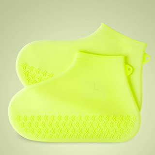 JWWOZ Silicone Waterproof Shoe Cover, Non-Slip Transparent Rain Boots Reusable Portable Shoe Cover Elastic Shoes Protection Ladies Men (Color : Yellow, Size : S)