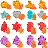 16 Pieces Halloween Cookie Cutters Thanksgiving Fall Christmas Cookie Cutters Biscuit Mold 3D Mini Fondant Cookie Stampers for DIY Cake Baking Decoration Supplies Favors