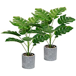 U'Artlines Set of 2 Artificial Greenery Plants Potted Fake Topiary Shrubs Green Leaf for Home Office Table Top Décor (2Pcs, Monstera Leaf)