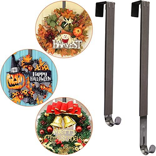 Wreath Door Hanger,Fall Wreath Hanger,Adjustable Wreath Hanger for Front Door Decor,Over The Door Hooks for Halloween Christmas Easter Decorations