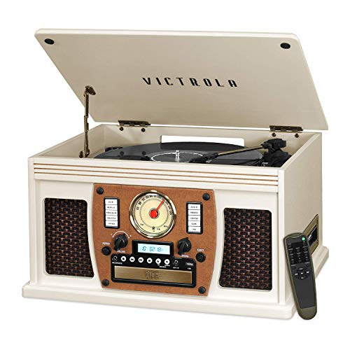Victrola 8-in-1 Bluetooth Record Player & Multimedia Center, Built-in Stereo Speakers - Turntable, Wireless Music Streaming   Oak