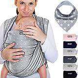 Fascia porta bebè 100% cotone grigio chiaro con stelle