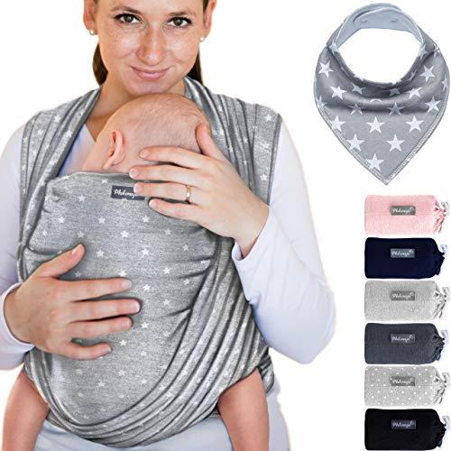 Babytragetuch aus 100% Baumwolle - Hellgrau mit Sternen – hochwertiges Baby-Tragetuch für Neugeborene und Babys bis 15 kg – inkl. Baby-Lätzchen