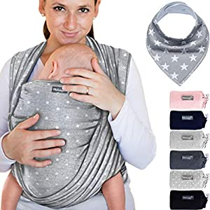 Portabebés gris claro con estrellas - para recién nacidos y bebés hasta 15 kg - hecho de algodón 100%