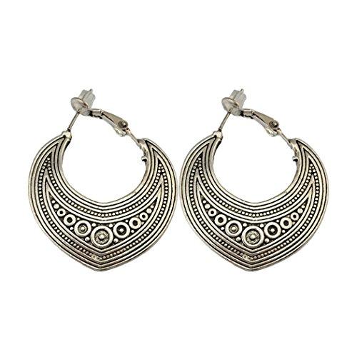 Idealway - Orecchini a cerchio con geometria, in argento e oro e Argento, colore: Argento, cod. E-3918