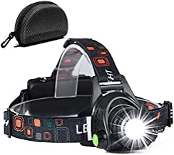 LP014 Ultra Bright Headlamp Flashlight,3 Modes High Lumen IPX4 Waterproof Zoomable with18650 USB Rechargeable,Cree Led Head Light for Hiking Camping Hunting (Dark)